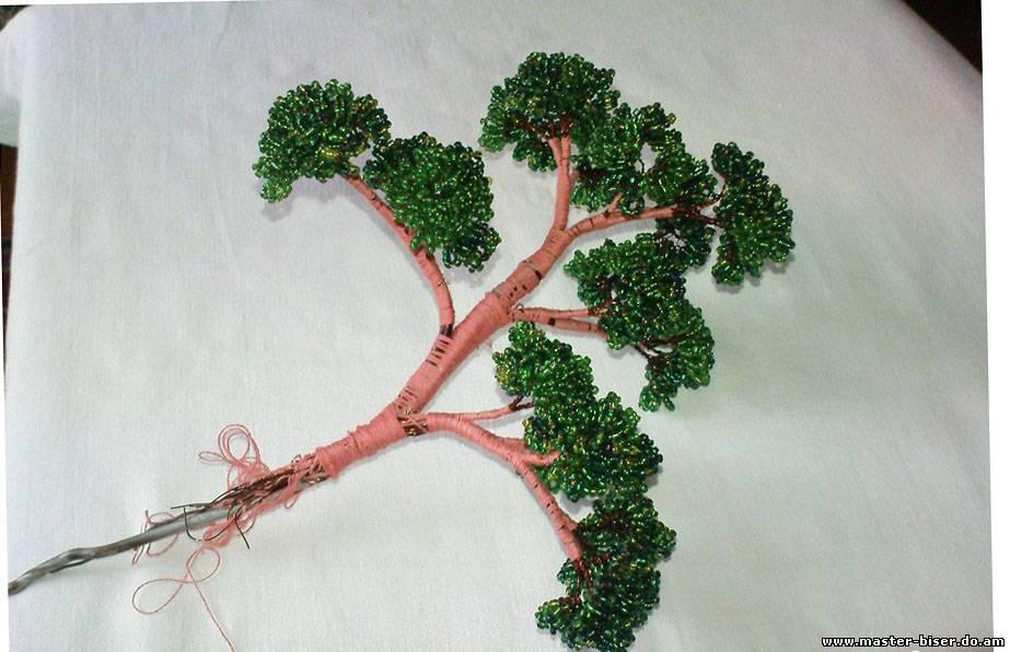 Как собрать дерево из бисера пошаговые